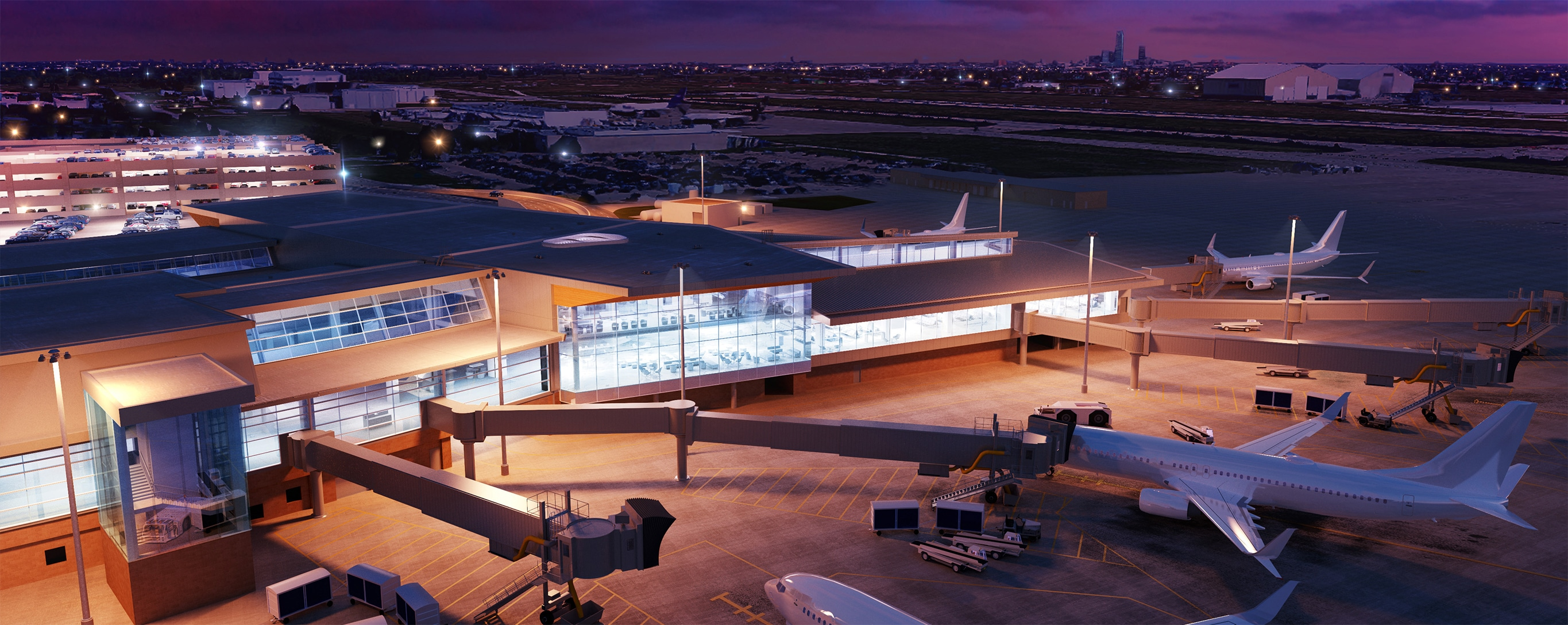 Rendering of the new portion of the terminal building from airside perspective.