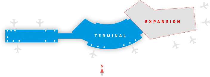 drawing of the shape of the terminal building with the new gates.