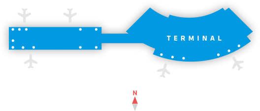 drawing of the shape of the terminal building as it exists now