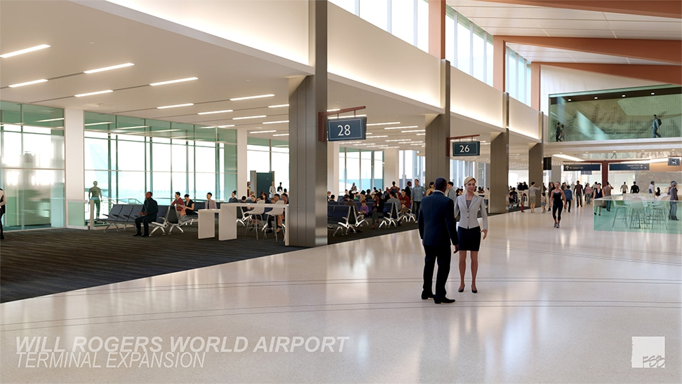 Rendering of new concourse from east end looking west.  Shows several new gate areas and wider concourse.