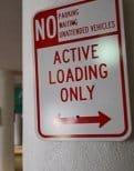 Sign indicating loading zone